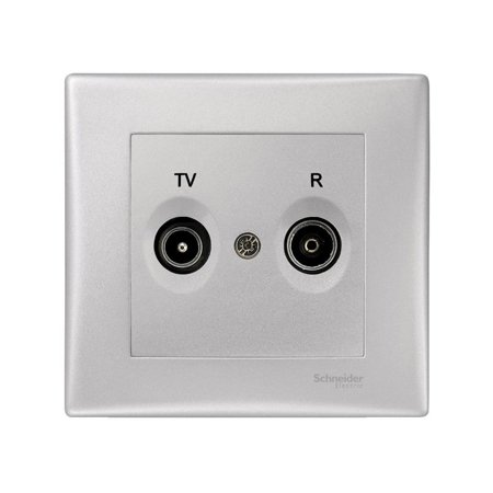 Zásuvka R/TV průchozí hliník s rámečkem Sedna SDN3391860 Schneider Electric