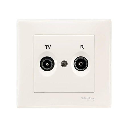 Zásuvka  R/TV průchozí krémová s rámečkem Sedna SDN3391823 Schneider Electric