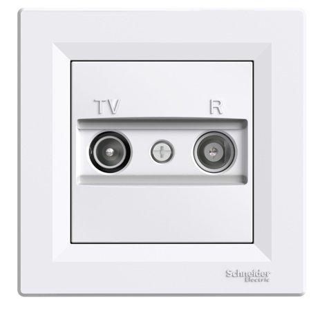 Zásuvka RTV koncová s rámečkem, bílá Schneider Electric Asfora EPH3300121