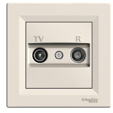 Zásuvka RTV průchozí (4dB) s rámečkem, krémová Schneider Electric Asfora EPH3300223