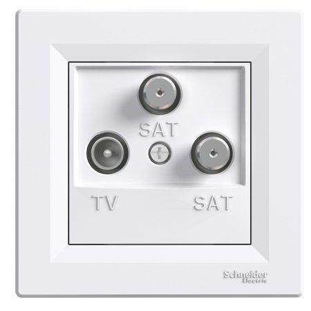Zásuvka TV-SAT-SAT koncová (1dB) s rámečkem, bílá Schneider Electric Asfora EPH3600121