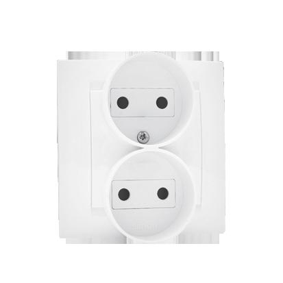 Zásuvka dvojitá bez uzemnění šroubové koncovky, bílá Kontakt Simon 1591457-030