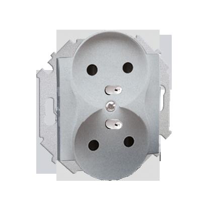 Zásuvka podwóne s uzemněním (modul) šroubové koncovky, hliník (kov) Kontakt Simon 1591461-026
