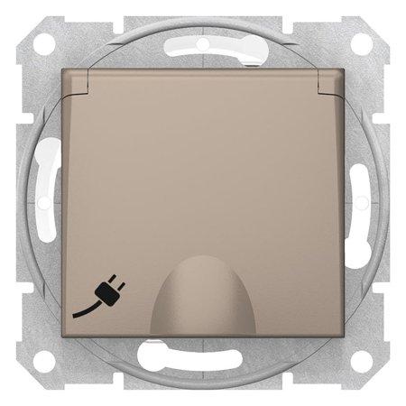 Zásuvka schuko IP44, saténová Sedna SDN3100368 Schneider Electric