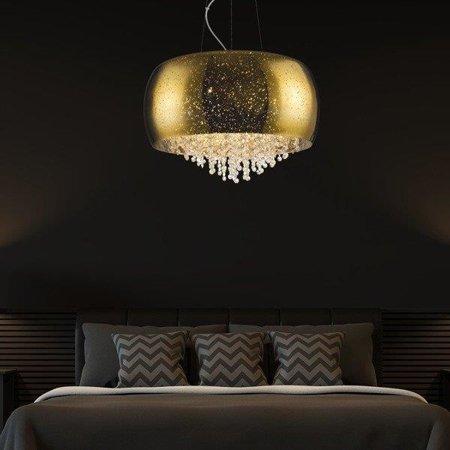 Závěsná lampa kulatá 40cm zlatá křišťál Zuma Line Vista Pendant P0076-05K-F4GQ